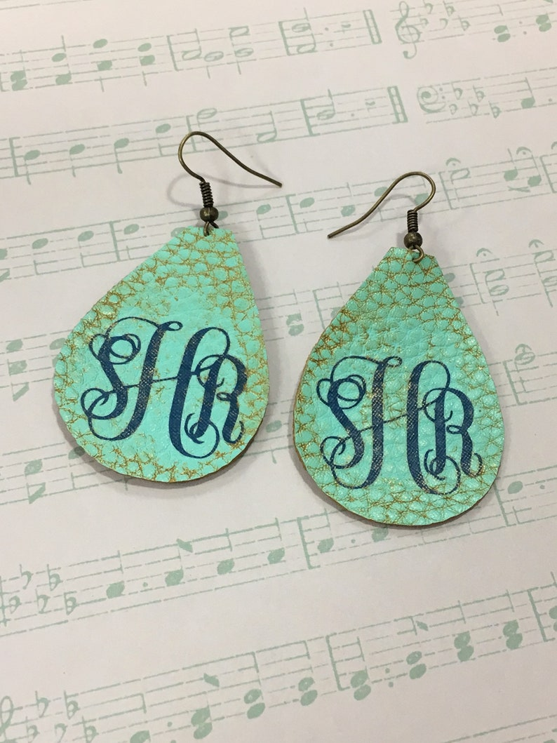 Personalized Faux Leather Earrings image 0