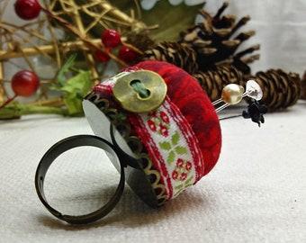 Red Damask Pincushion Ring