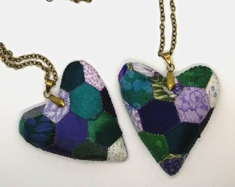 Patchwork Heart Necklace, Votes for Women
