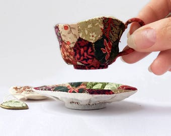 """Miniature Soft Sculpture, """"Know Your Own Strength"""" Patchwork Teacup and Saucer"""