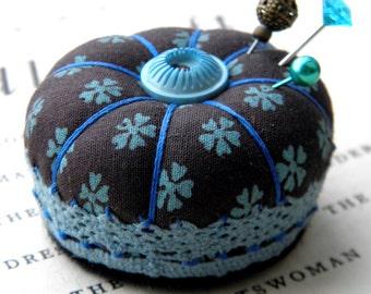 Miniature Pincushion, Chocolate and Turquoise