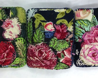 Rose Brooches, Broderie Perse Embroidery.