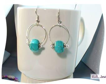Turquoise Earrings, Turquoise and Silver Earrings, Howlite Earrings, Modern Jewelry - E2017-03