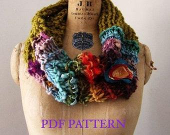 Instant download PDF PATTERN Chunky knit cowl. Bohemian Art knit cowl PATTERN.