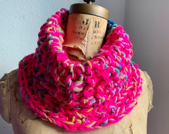 Chunky Knit Cowl Neckwarmer Neon Pink. Teal. Green. Yellow. Sparkle Art yarn. Boho scarf. handmade knit wear.
