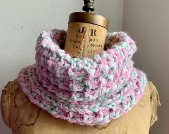 Chunky Knit Cowl Pink and cucumber green. Soft neck warmer. Boho scarf. handmade knit wear.