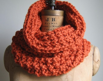 The Incognito Chunky knit cowl  Orange. Warm loop scarf. READY to SHIP