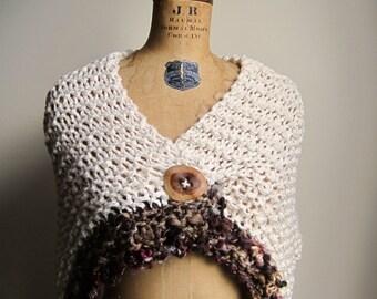 Bohemian Love Organic Cotton knit shawl Cream
