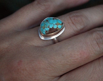 Taos, a #8 Turquoise, Silver, and gold ring