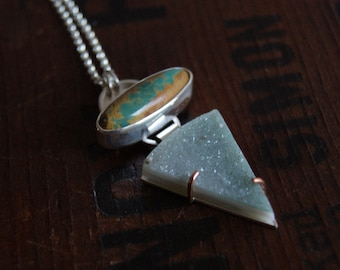 Duet, a Boulder Turquoise and Mint Druzy necklace