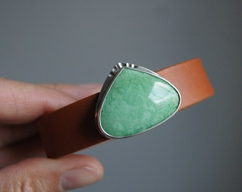 Pistachio, a Variscite and leather Cuff Bracelet