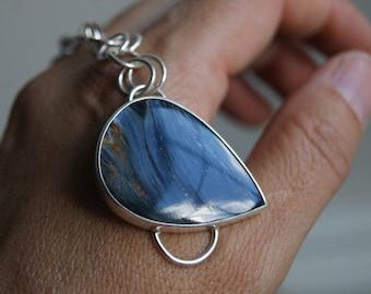 Starry Night, a Pietersite and Silver linked bracelet