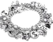 Dia de los Muertos Charm Bracelet, Day of Dead Silver Charm Bracelet, Day of the Dead Jewelry, Sugar Skull Jewelry, Halloween Jewelry