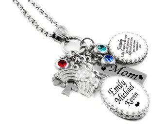Shiny Alice Engraved Name Children Charms Necklace Mother Necklace with Kids Charms