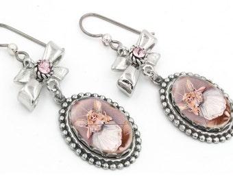 Fairy Earrings, Fairy Godmother, Glinda the Good Witch, Fairy Drop Earrings, Pink Fairies, Glinda Earrings