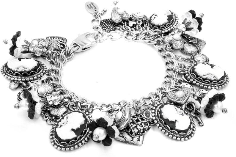 Cameo Silver Jewelry Silver Jewelry Charm Bracelet Flowers and Pearls Black Cameo Charm Bracelet