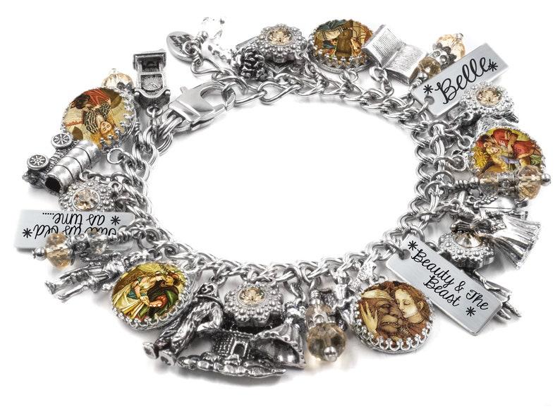3a1fa20f4 Belle and the Beast Charm Bracelet Silver Charm Bracelet | Etsy