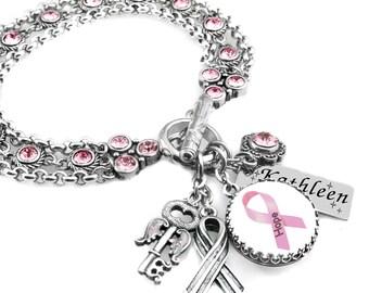 Breast Cancer Bracelet, Crystal Charm Bracelet, Pink Ribbon Charm Bracelet, Awareness Bracelet