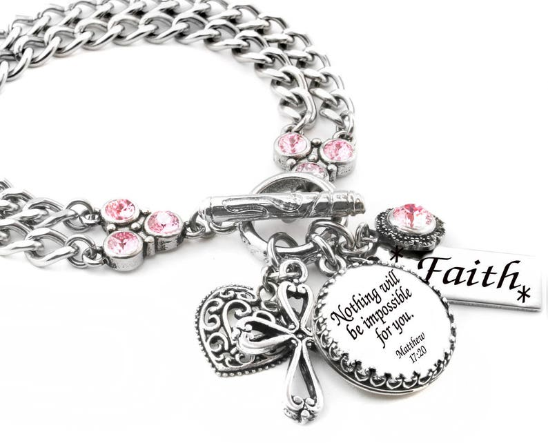 e8b0e4aecf33e Personalized Faith Bracelet, Engraved Charm with Religious Bible Verse in  Stainless Steel