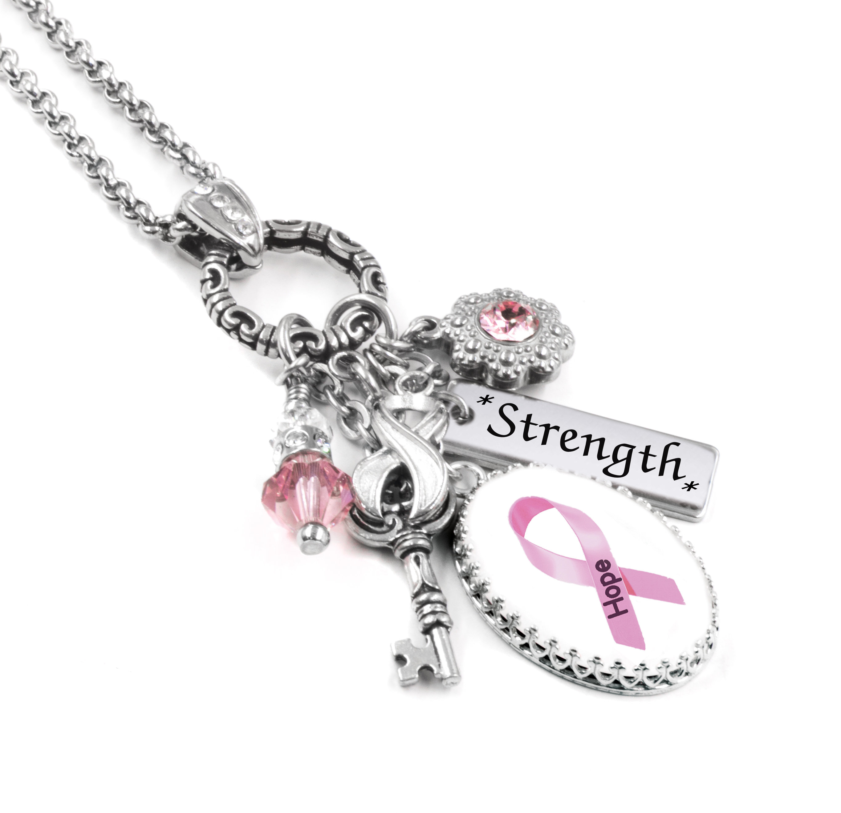 Custom Breast Cancer Awareness Bracelet Pink Ribbon Choose Initial Heart Charm