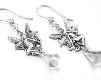 Silver Fairy Earrings, Crystal Drop Earrings, Teardrop Crystals, Filigree Earrings, Swarvoski Earrings, Small Earrings, Light Weight Earring
