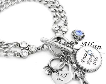 Military Wife Charm Bracelet, Military Jewelry, Personalized Military Wife Bracelet, Army, Navy, Marines, Air Force, Coast Guard