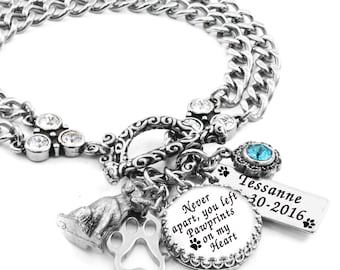 Personalized Dog Bracelet, Dog Jewelry, Dog Charm Bracelet, Memory Jewelry for your Dog, Remembrance Dog Bracelet, Gifts for Dog Lovers