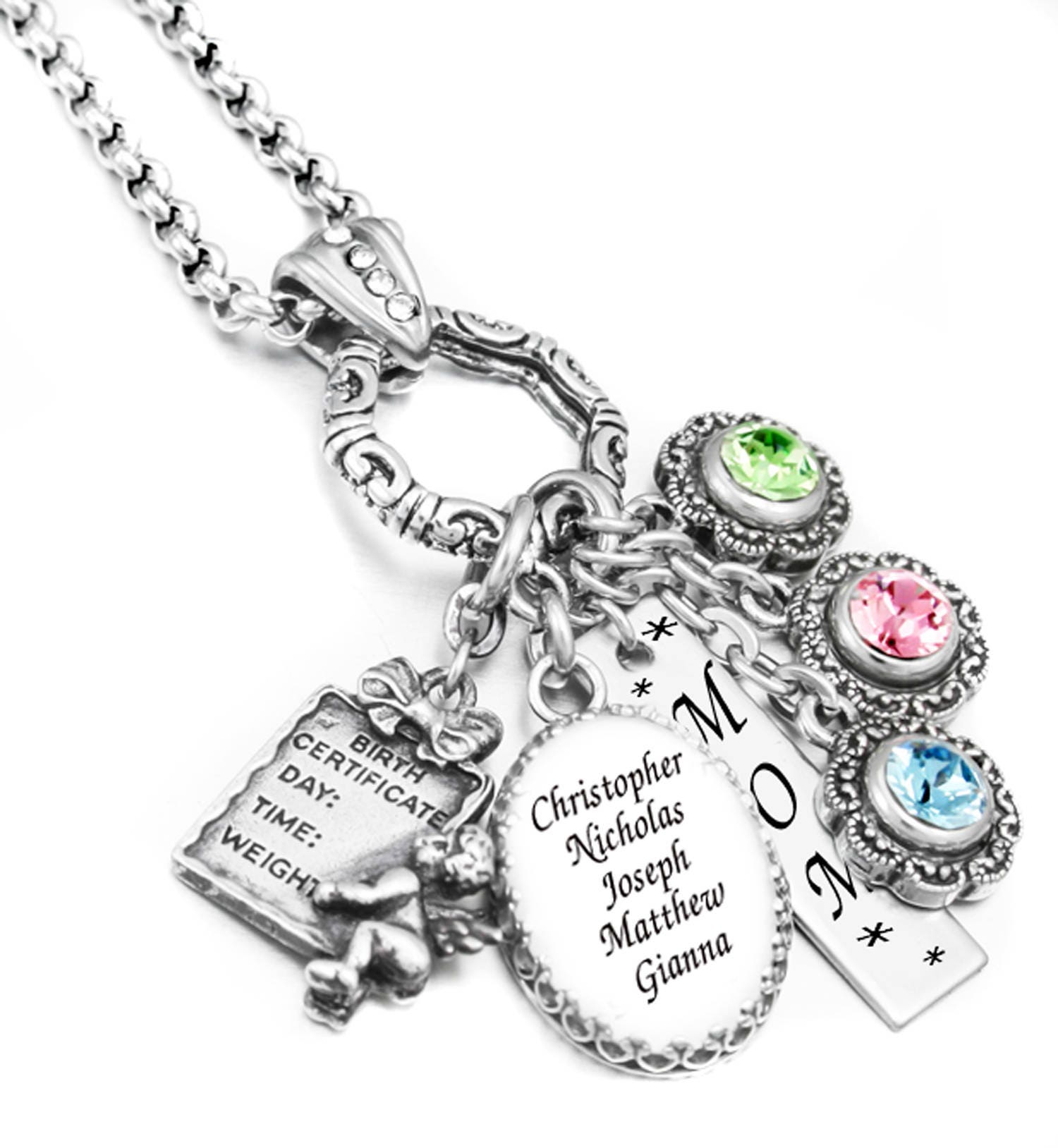 personalized mothers necklace birthstone necklace family. Black Bedroom Furniture Sets. Home Design Ideas
