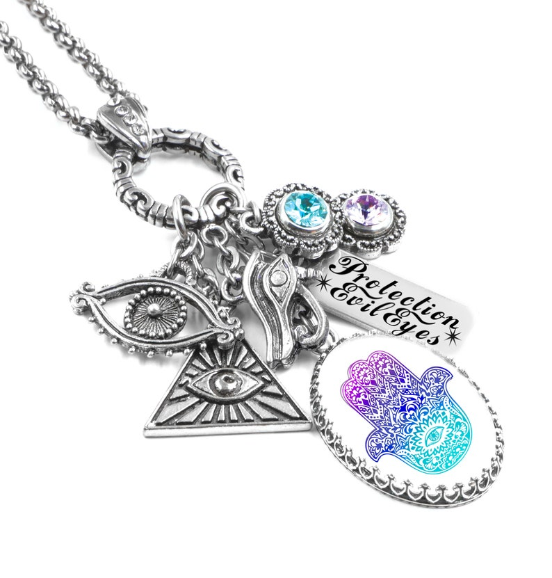 Evil Eye Necklace, Protection Amulet with Hamsa Hand Talisman in non  tarnish stainless steel