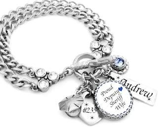 Deputy Sheriff Bracelet, Sheriff Jewelry, Deputy Sheriff Wife, Law Enforcement Gift, Deputy Sheriff Mom, Deputy Sheriff Charm Bracelet