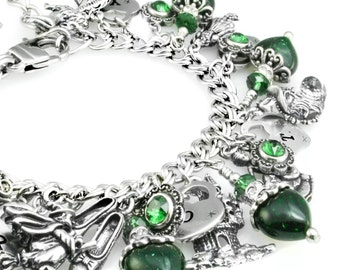 Emerald City, Wizard of OZ, Dorothy, Tinman, Ruby Slippers, Oz Jewelry, Wizard Charm Bracelet