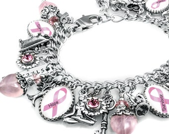 Breast Cancer Charm Bracelet, Breast Cancer Jewelry, Breast Cancer Awareness Jewelry, Personalized Breast Cancer Jewelry