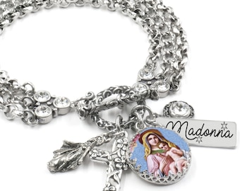 Religious Jewelry, Catholic Jewelry, Religious Bracelet, Madonna, Catholic, Madonna Jewelry, Silver Bracelet