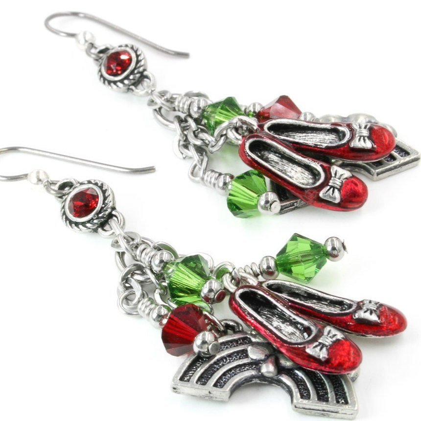 Dorothy's Shoes, Ruby Slippers, Wizard of Oz Earrings, Ruby Drop Slipper Earrings, Red Slippers, Drop Ruby Earrings, Dangle Earrings b53807