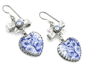 Blue Willow Earrings, Heart Drop Earrings, Blue Flower Dangle Earring, Romantic Jewelry, Dangle Earrings, Blue Crystal Earrings