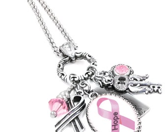 Breast Cancer Awareness Charm Necklace, Breast Cancer Jewelry, Customized Breast Cancer Jewelry, Personalized Breast Cancer Jewelry