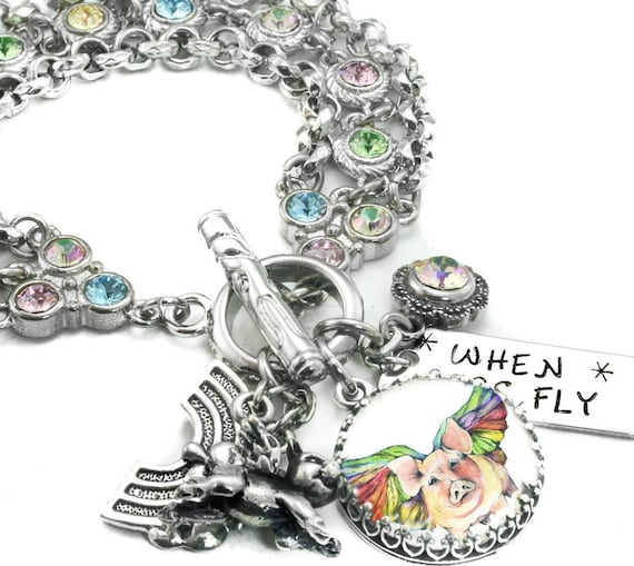 Rainbow Bracelet Flying Pigs Crystal Bracelet Rainbow Etsy