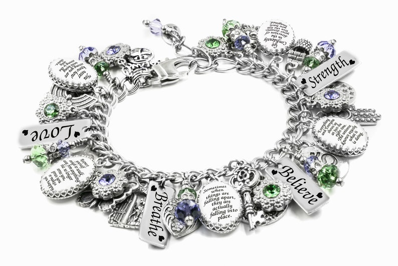 Personalized Quote Charm Bracelet Inspirational Jewelry With Sayings Choose Your Own Quotes