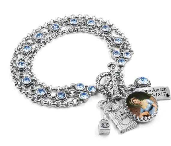 Author Jewelry Literary Charm with Engraved Charms in Stainless Steel Personalized Writer Bracelet