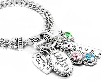 Mother's Jewelry, Personalized Bracelet, Engraved Mom Charm, Custom Mother's Bracelet