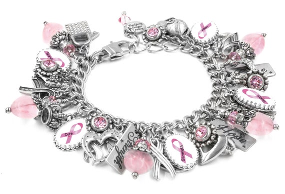 Pink Ribbon Bow Sterling Silver Charm Breast Cancer Awareness For Charm Bracelet