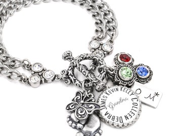 Mother's Bracelet with Children's Names and Birthstone Jewelry in non tarnish stainless steel