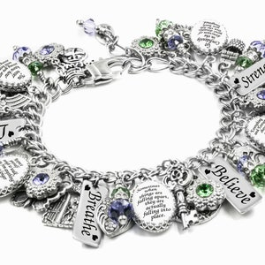 Personalized Quote Charm Bracelet choose your own quotes Inspirational Jewelry with Sayings