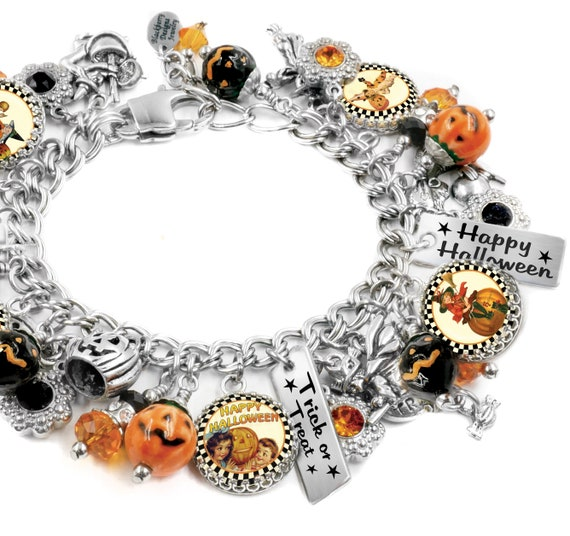 Halloween Jewelry, Pumpkin Charm Bracelet, Vintage Images, Halloween Gift,  Trick or Treat, Orange and Black