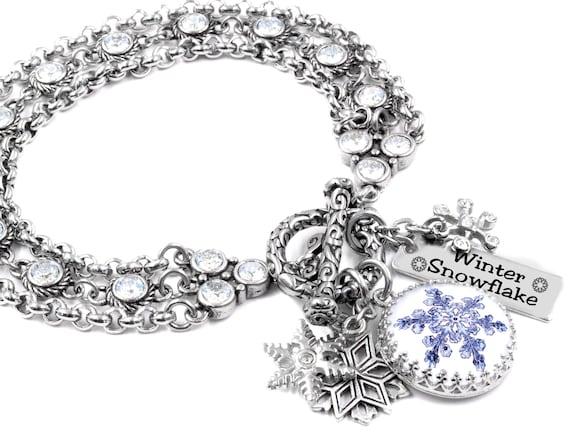 Christmas Snowman Snowflakes Charm Bracelet Engraved Love Silver Tone Beaded Christmas Gift for Women