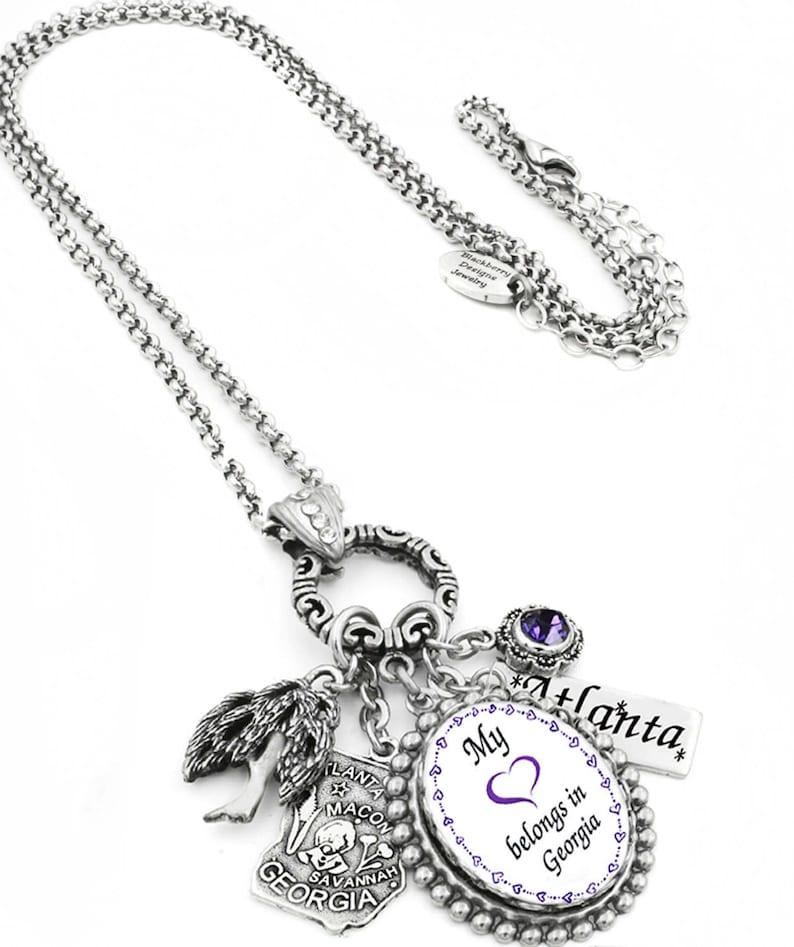 Favorite City Jewelry My Heart Belongs in Georgia Coordinates Charm Custom State Pride Pendant Personalized Georgia Necklace