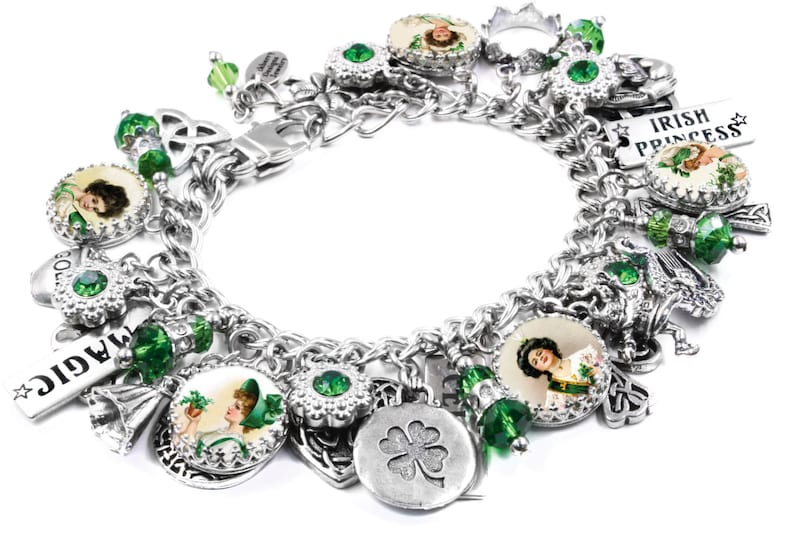 6b28d228f Celtic Jewelry Silver Charm Bracelet Irish Jewelry Irish | Etsy
