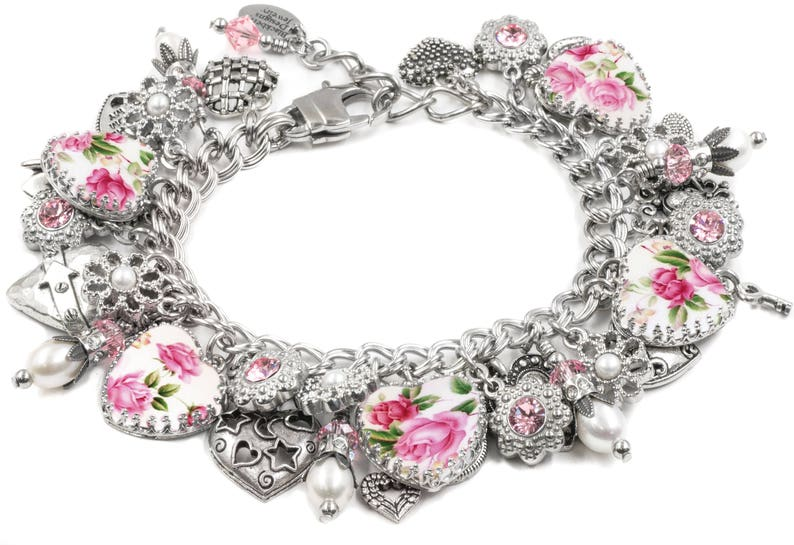 Pink Roses Bracelet, Broken China Jewelry with Heart Charms and real  Pearls, Reproduction Plate Images