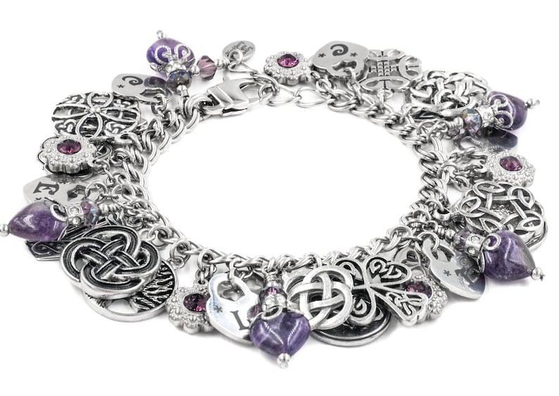 Purple Hearts Celtic Knot Jewelry Amethyst Heart Bracelet Irish Charms