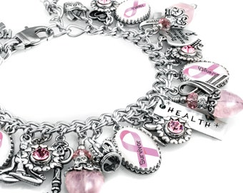 Personalized Cancer Awareness Charm Bracelet, Custom Cancer Jewelry,  Cancer Awareness Bracelet, Choose your Ribbon, Pink Ribbon